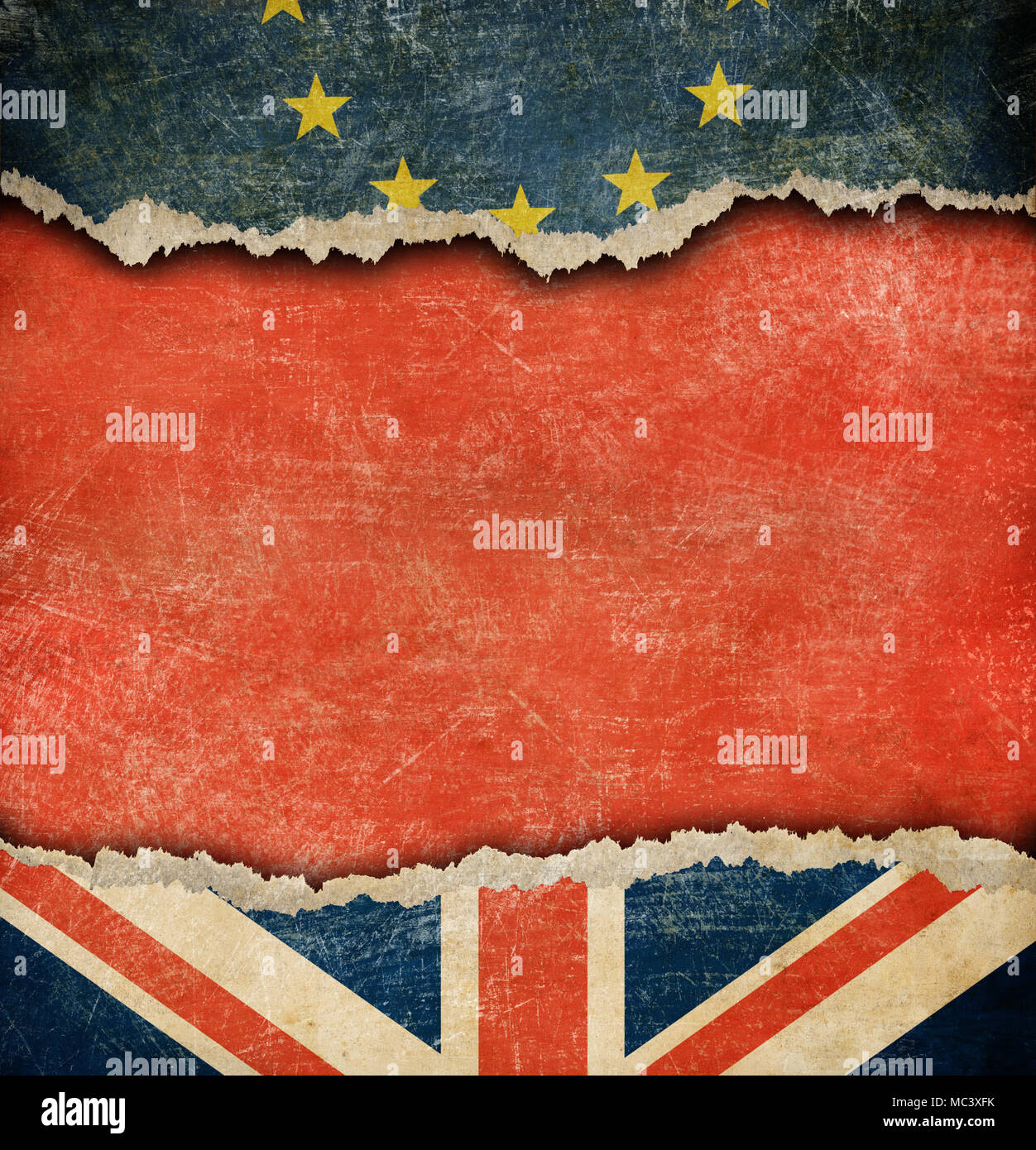 Great Britain and European union flags brexit concept - Stock Image