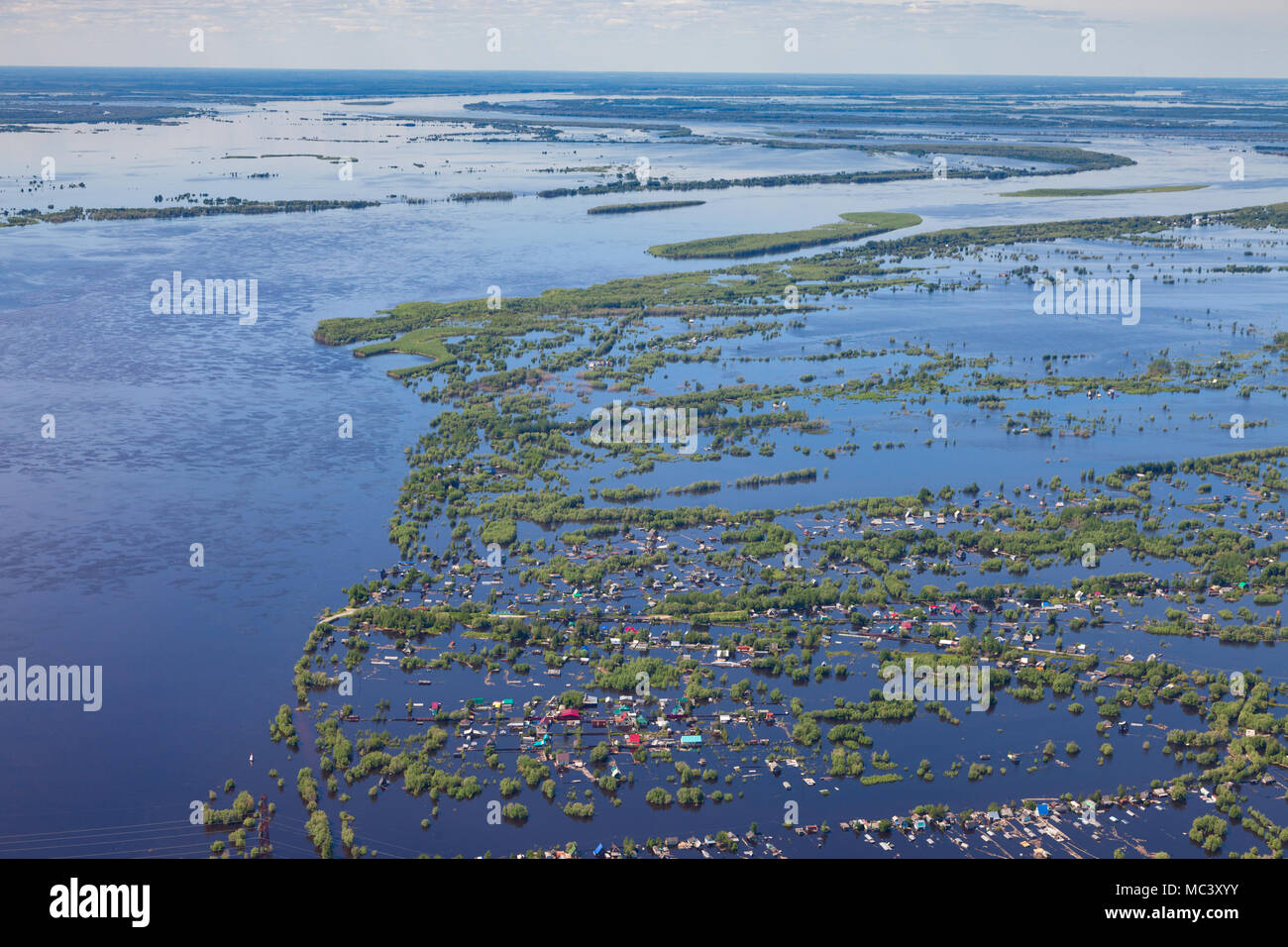 Flooded terrain in lowlend of Great river - Stock Image