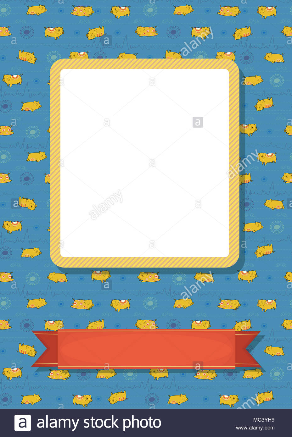 Funny Greeting Card Cartoon Yellow Pigs With Red Decor Yellow
