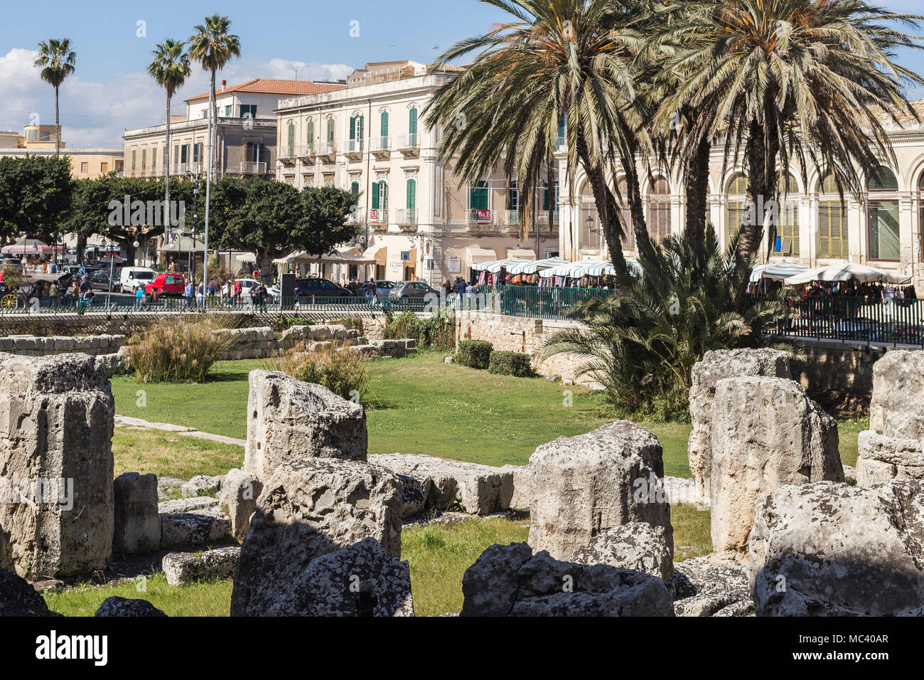 Columns of the Temple of Apollo in Ortigia, Siracusa, Sicily. - Stock Image