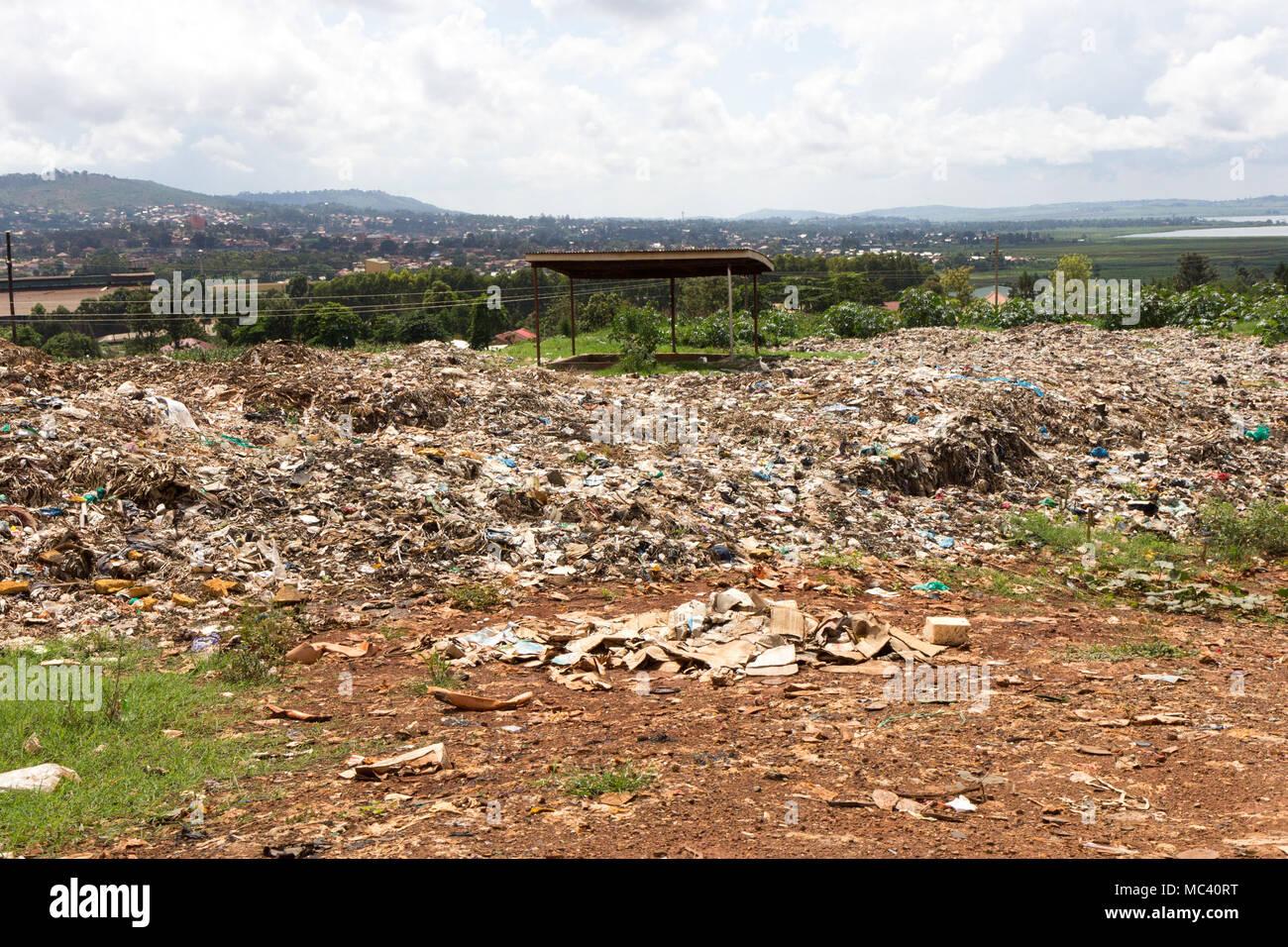 Jinja, Uganda. 21 May 2017. A large landfill of waste sprawling on the suburbs of the Ugandan city of Jinja. - Stock Image