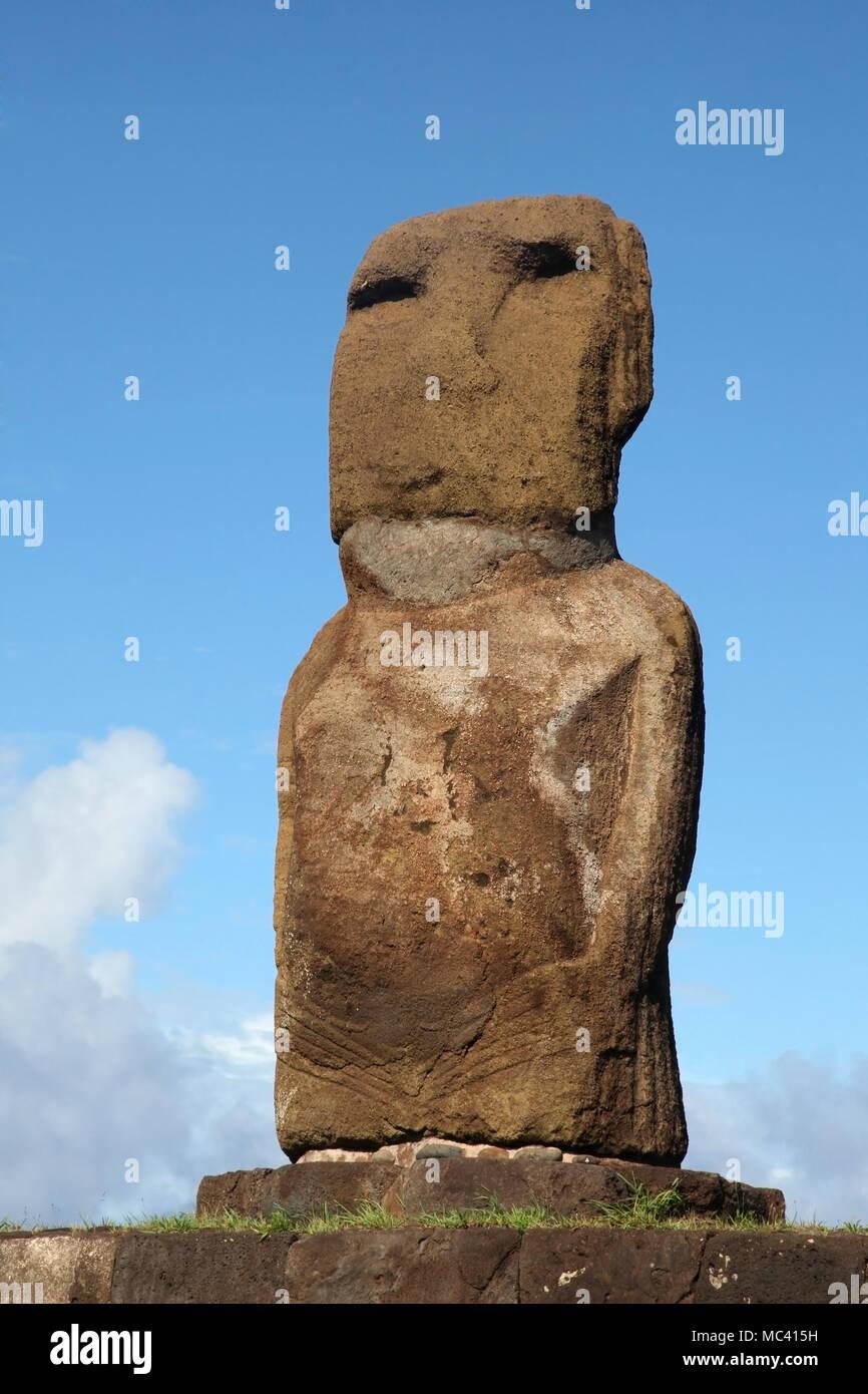 One Moai Ahu Riata in Hanga Piko, Easter Island, Chile - Stock Image