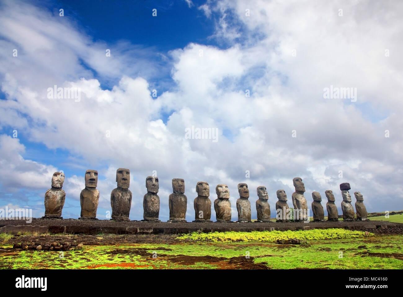 Fifteen moai standing at Ahu Tongariki, Easter Island, Chile. - Stock Image