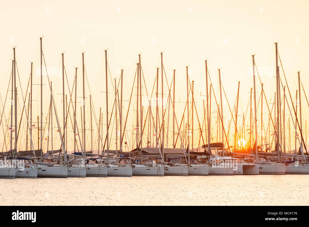 Sail boats in Alimos marina in Athens, Greece. - Stock Image