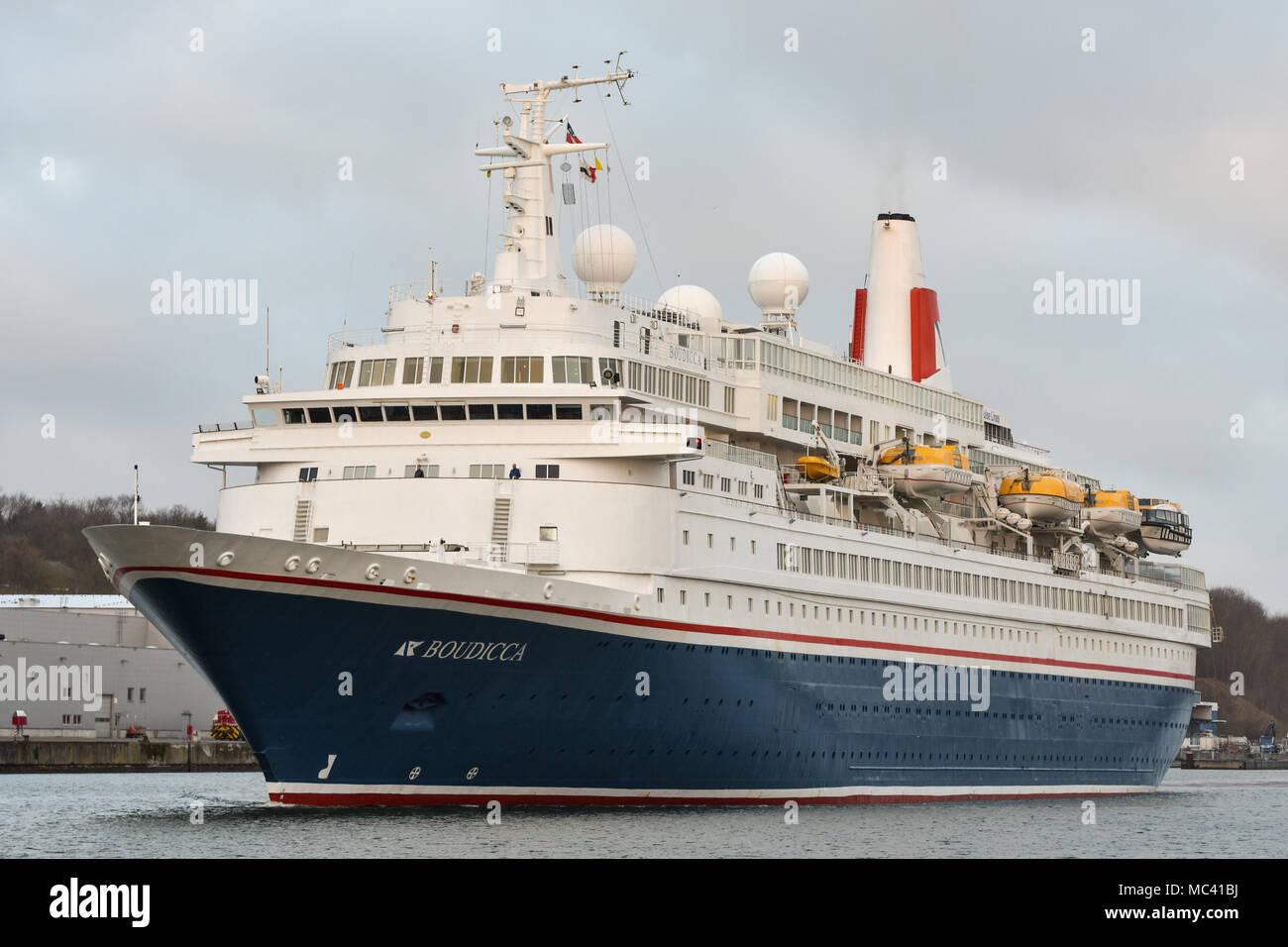 Classic cruiseship Boudicca passing the Kiel Canal bound for Kiel - Stock Image