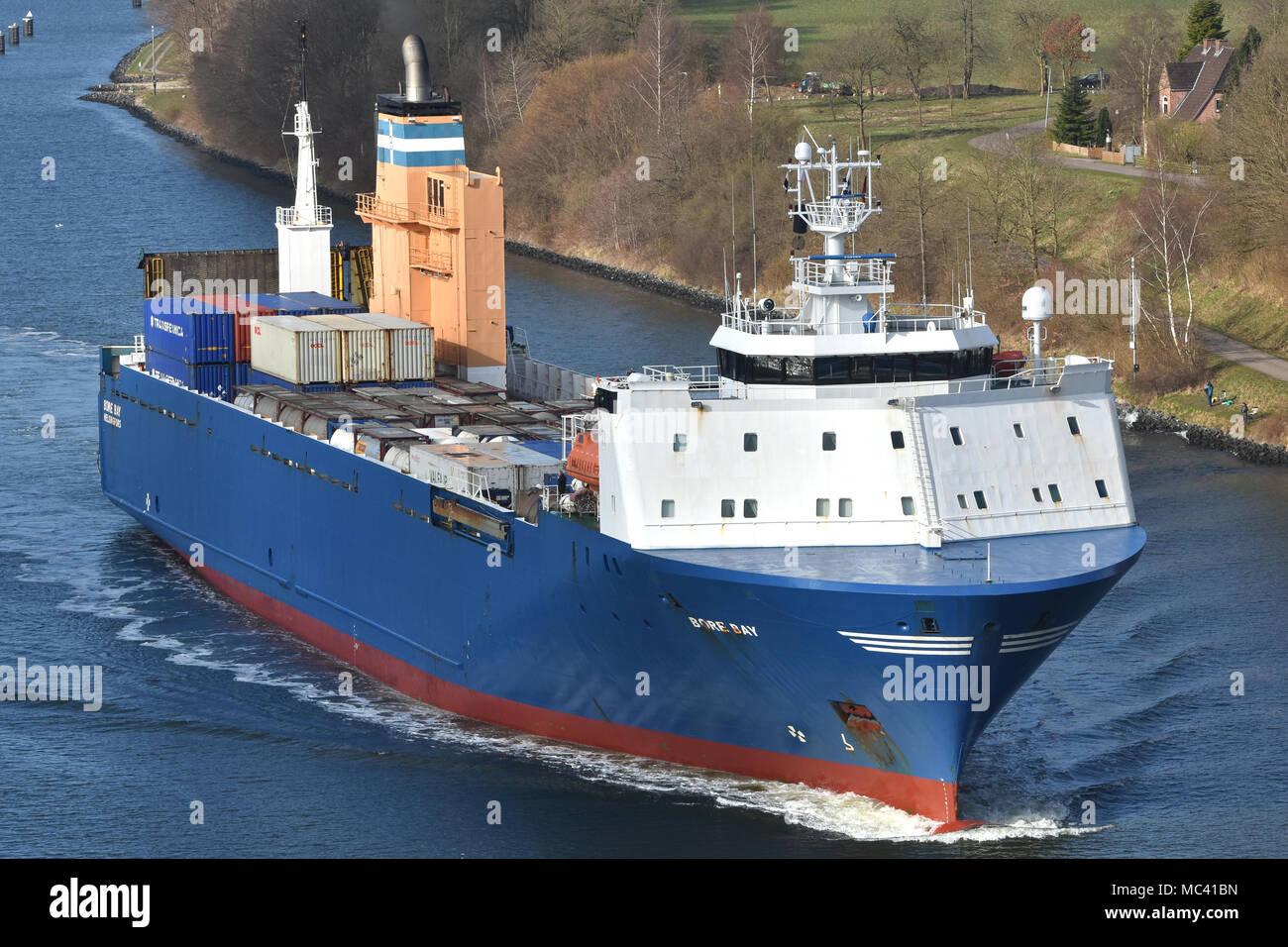 RO-RO-Vessel Bore Bay passing the Kiel CanalStock Photo