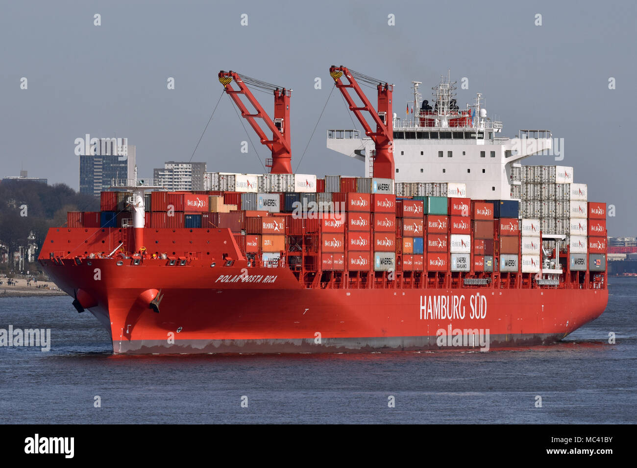 Reefer Containervessel Polar Costa Rica outbount from Hamburg, maiden callStock Photo