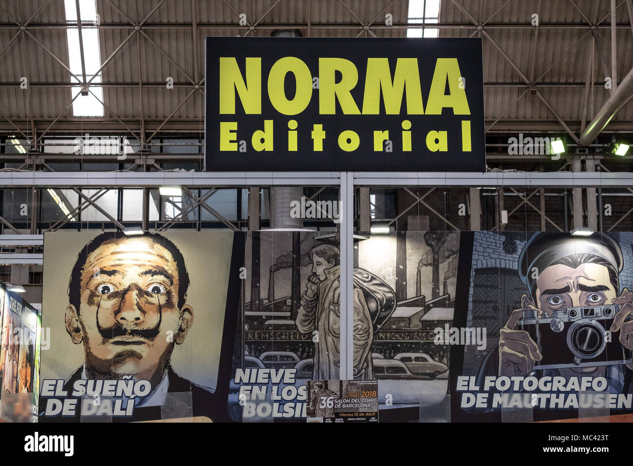 April 12, 2018 - Barcelona, Catalonia, Spain - Stand of Norma Editorial. Opening of the 36th Barcelona International Comic Fair from 12th-15th April 2018 in Fira Barcelona Montjuïc. (Credit Image: © Paco Freire/SOPA Images via ZUMA Wire) Stock Photo