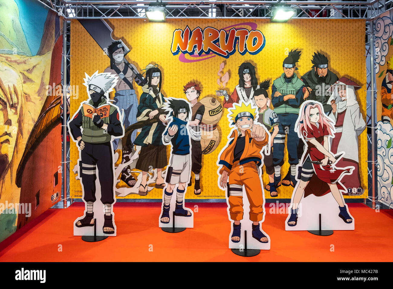 April 12, 2018 - Barcelona, Catalonia, Spain - Stage for selfies with Naruto characters. Opening of the 36th Barcelona International Comic Fair from 12th-15th April 2018 in Fira Barcelona Montjuïc. (Credit Image: © Paco Freire/SOPA Images via ZUMA Wire) Stock Photo
