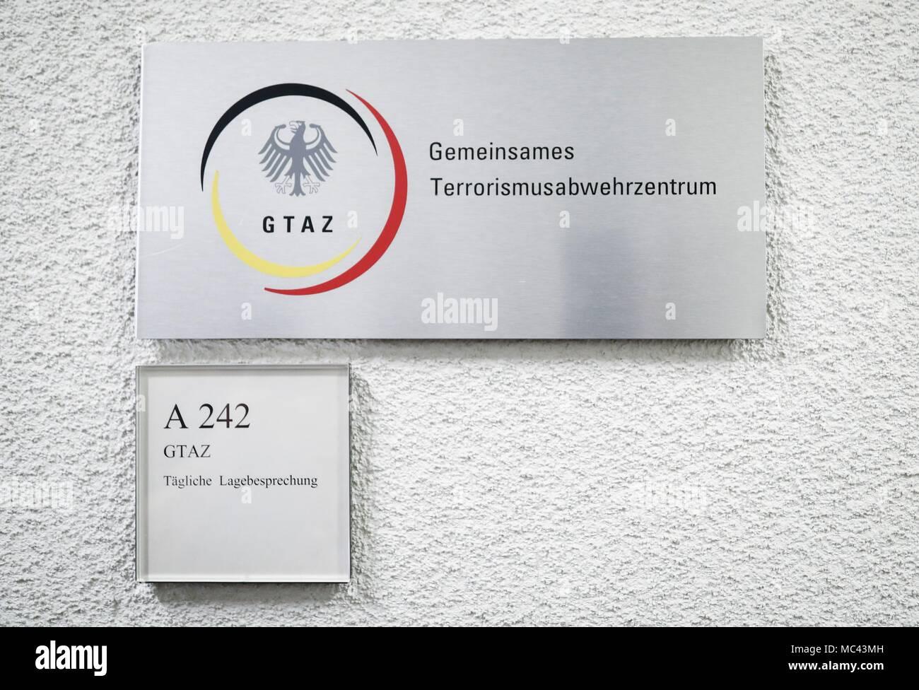 12 April 2018, Germany, Berlin: A sign at the Gemeinsames Terrorismusabwehrzentrum (lit. Joint Counter-Terrorism Centre). Photo: Kay Nietfeld/dpa Stock Photo
