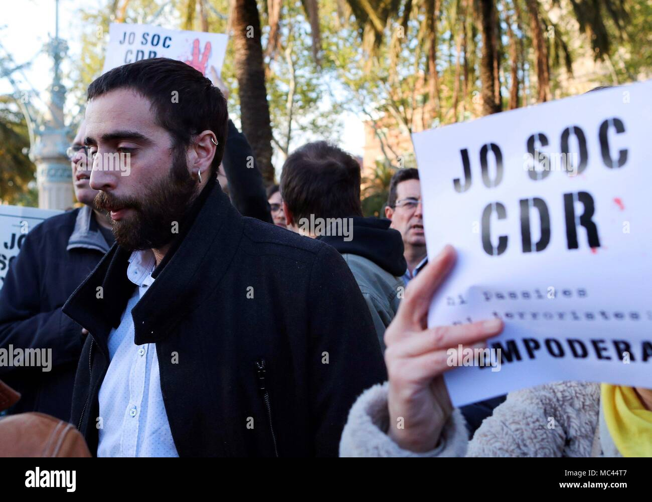 Attorney David Aranda during a press conference at the rally to support the Republic's Defense Committees in Barcelona, Catalonia, Spain, 12 April 2018. EFE/Alejandro Garcia Stock Photo