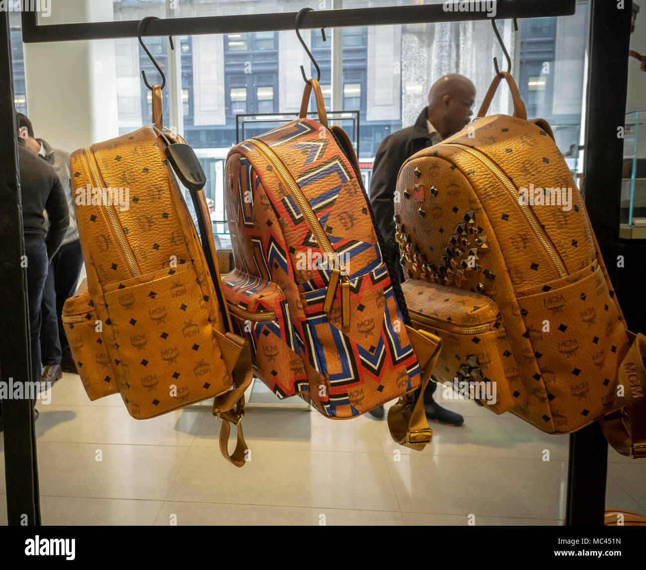 New York USA 12th Apr 2018 MCM Brand Backpacks In The
