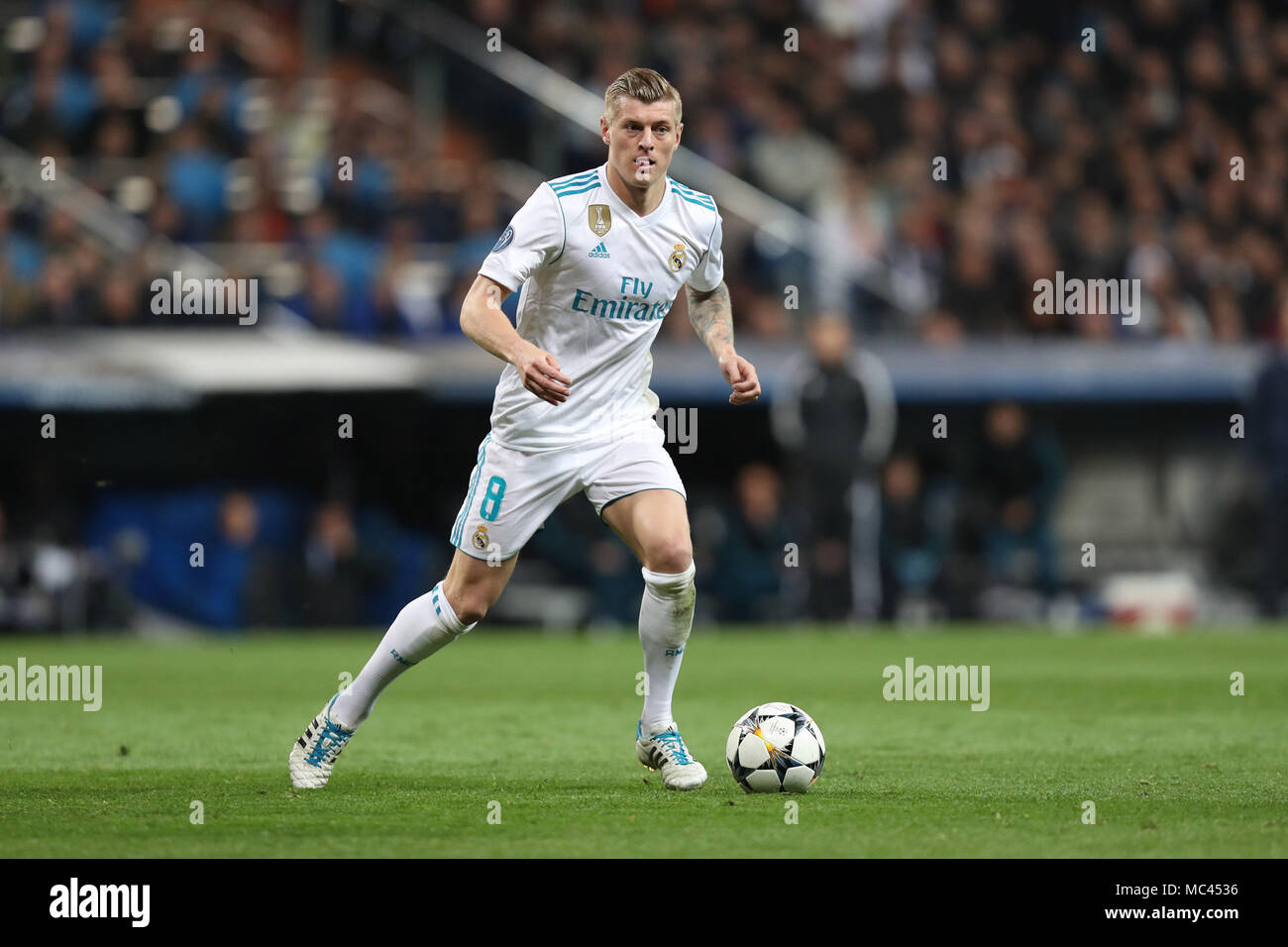 Madrid, Spain. 11th Apr, 2018. TONI KROOS of Real Madrid during the UEFA Champions League, quarter final, 2nd leg football match between Real Madrid CF and Juventus FC on April 11, 2018 at Santiago Bernabeu stadium in Madrid, Spain Credit: Manuel Blondeau/ZUMA Wire/Alamy Live News - Stock Image