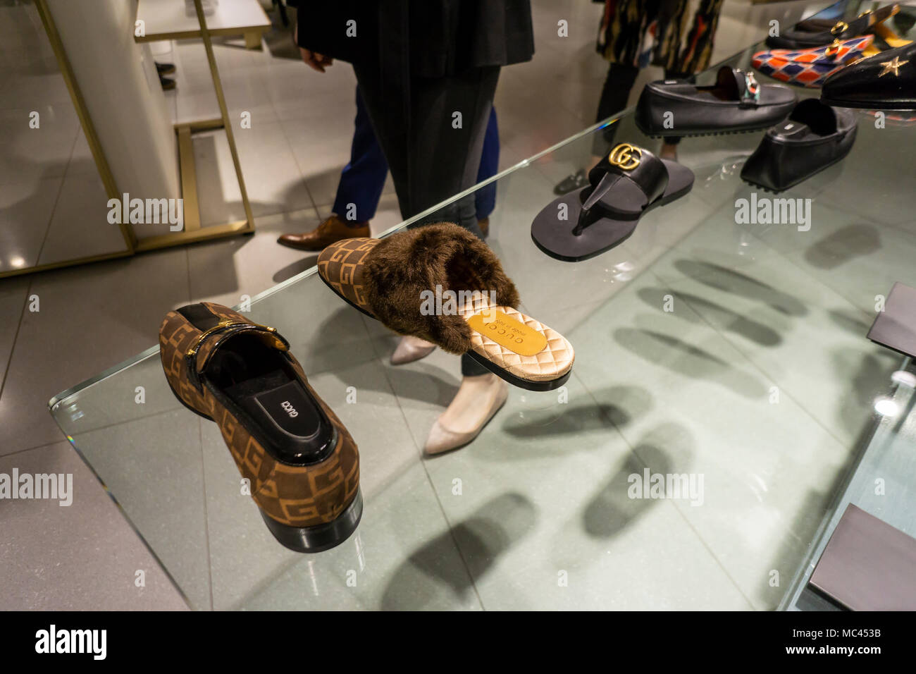 1cb4f663073 New York, USA. 12th Apr, 2018. Gucci footwear within the shoe ...
