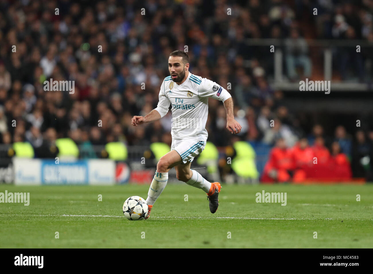 Madrid, Spain. 11th Apr, 2018. DANIEL CARVAJAL of Real Madrid during the UEFA Champions League, quarter final, 2nd leg football match between Real Madrid CF and Juventus FC on April 11, 2018 at Santiago Bernabeu stadium in Madrid, Spain Credit: Manuel Blondeau/ZUMA Wire/Alamy Live News - Stock Image