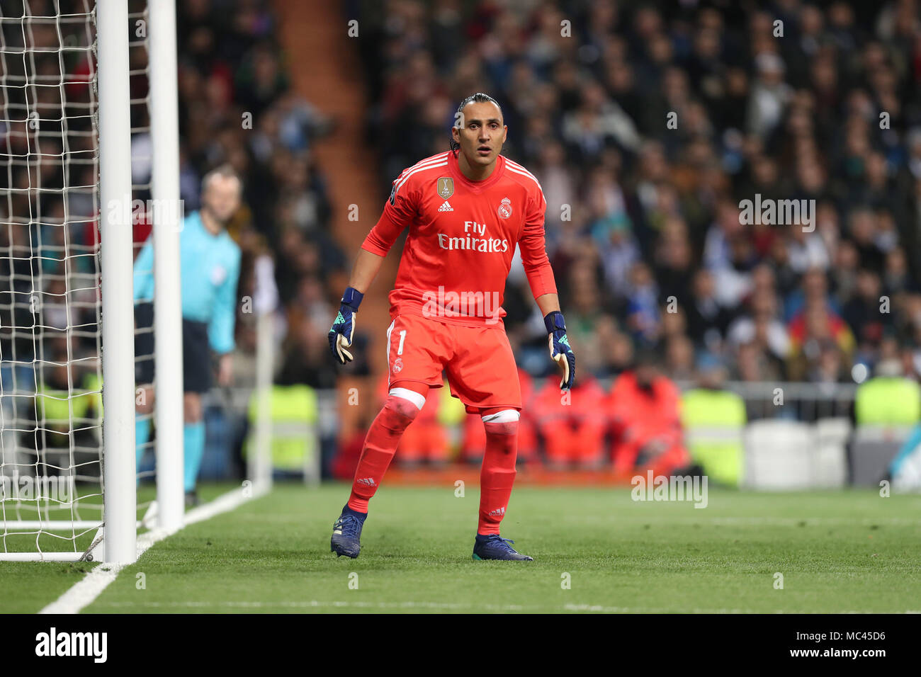 Madrid, Spain. 11th Apr, 2018. KEYLOR NAVAS of Real Madrid during the UEFA Champions League, quarter final, 2nd leg football match between Real Madrid CF and Juventus FC on April 11, 2018 at Santiago Bernabeu stadium in Madrid, Spain Credit: Manuel Blondeau/ZUMA Wire/Alamy Live News - Stock Image