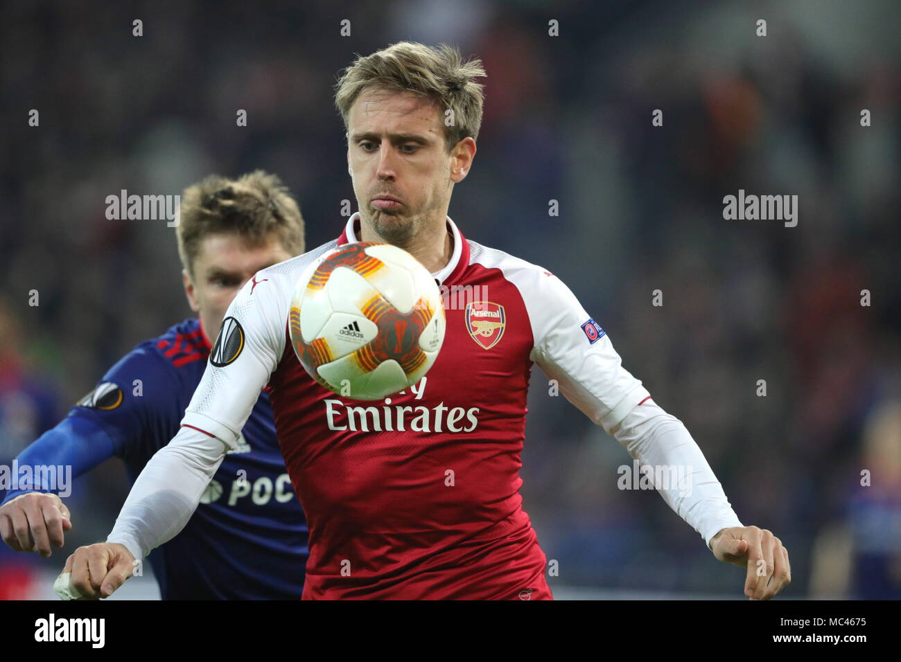Moscow, Russia. 12th Apr, 2018. MOSCOW, RUSSIA - APRIL 12, 2018: Arsenal F.C.'s Jack Wilshere in action in the 2017-2018 UEFA Europa League quarterfinal second leg football match against CSKA Moscow at VEB Arena (Arena CSKA). The game ended in a 2-2 draw. Sergei Bobylev/TASS Credit: ITAR-TASS News Agency/Alamy Live News - Stock Image