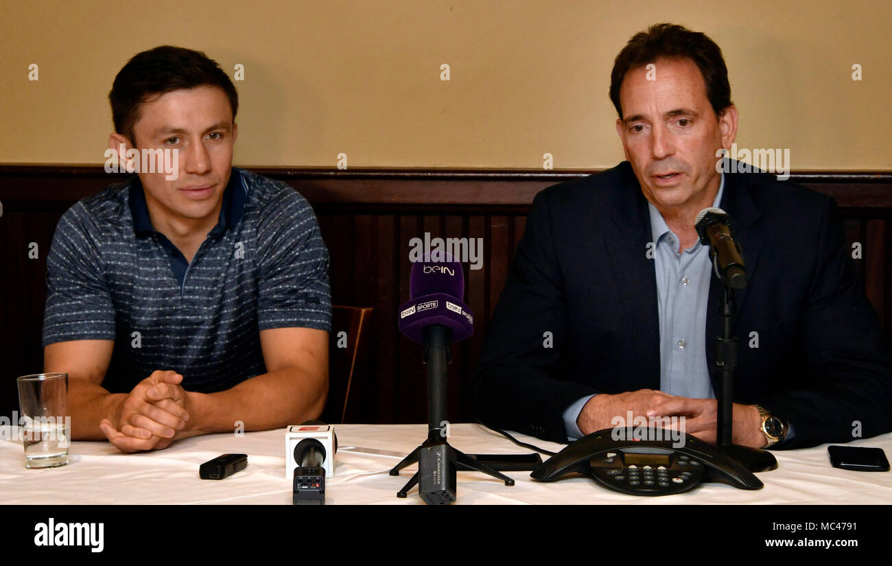 4-12-18. Los Angeles, CA. (L-R) Gennady (GGG) Golovkin, promoter Tom Loeffler, held a press conference in Los Angeles Thursday with the unified middleweight titleholder present, and he announced -- absolutely nothing.Nothing is finalized for a May 5 fight. But, it appears the WBC, and the WBA changed their minds about former 154-pound world title contender Vanes Martirosyan.In a conference call Tuesday morning, officials with the IBF, WBC, and WBA, turned down the Martirosyan fight. The Team is waiting for the Las Vegas boxing commission to make their final decision on how long of a su - Stock Image