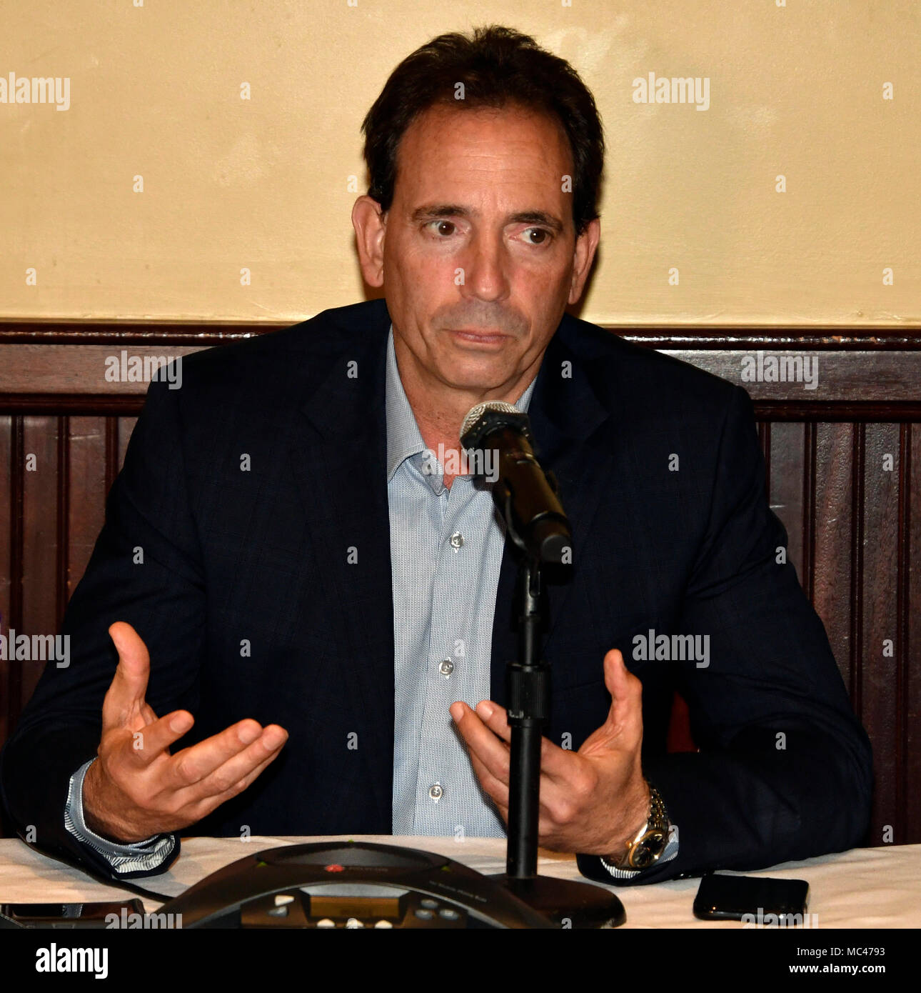 4-12-18. Los Angeles, CA. GGG promoter Tom Loeffler, held a press conference in Los Angeles Thursday with the unified middleweight titleholder present, and he announced -- absolutely nothing.Nothing is finalized for a May 5 fight. But, it appears the WBC, and the WBA changed their minds about former 154-pound world title contender Vanes Martirosyan.In a conference call Tuesday morning, officials with the IBF, WBC, and WBA, turned down the Martirosyan fight. The Team is waiting for the Las Vegas boxing commission to make their final decision on how long of a suspension of Canelo on the Apri - Stock Image