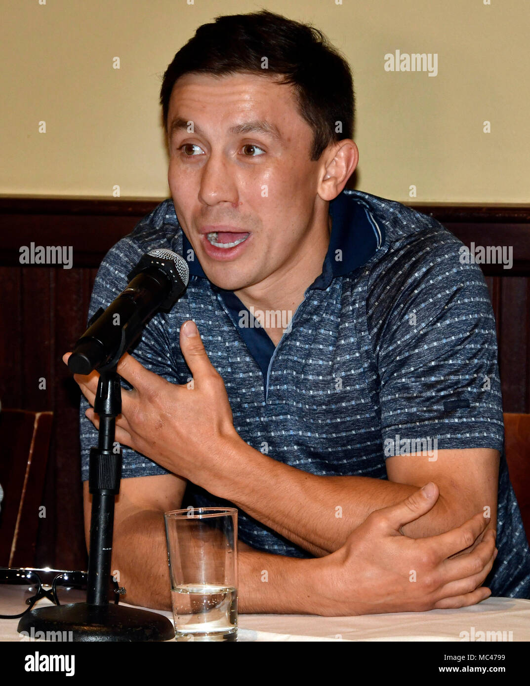 4-12-18. Los Angeles, CA. Gennady (GGG) Golovkin held a press conference in Los Angeles Thursday with the unified middleweight titleholder present, and he announced -- absolutely nothing.Nothing is finalized for a May 5 fight. But, it appears the WBC, and the WBA changed their minds about former 154-pound world title contender Vanes Martirosyan.In a conference call Tuesday morning, officials with the IBF, WBC, and WBA, turned down the Martirosyan fight. The Team is waiting for the Las Vegas boxing commission to make their final decision on how long of a suspension of Canelo on the April-1 - Stock Image