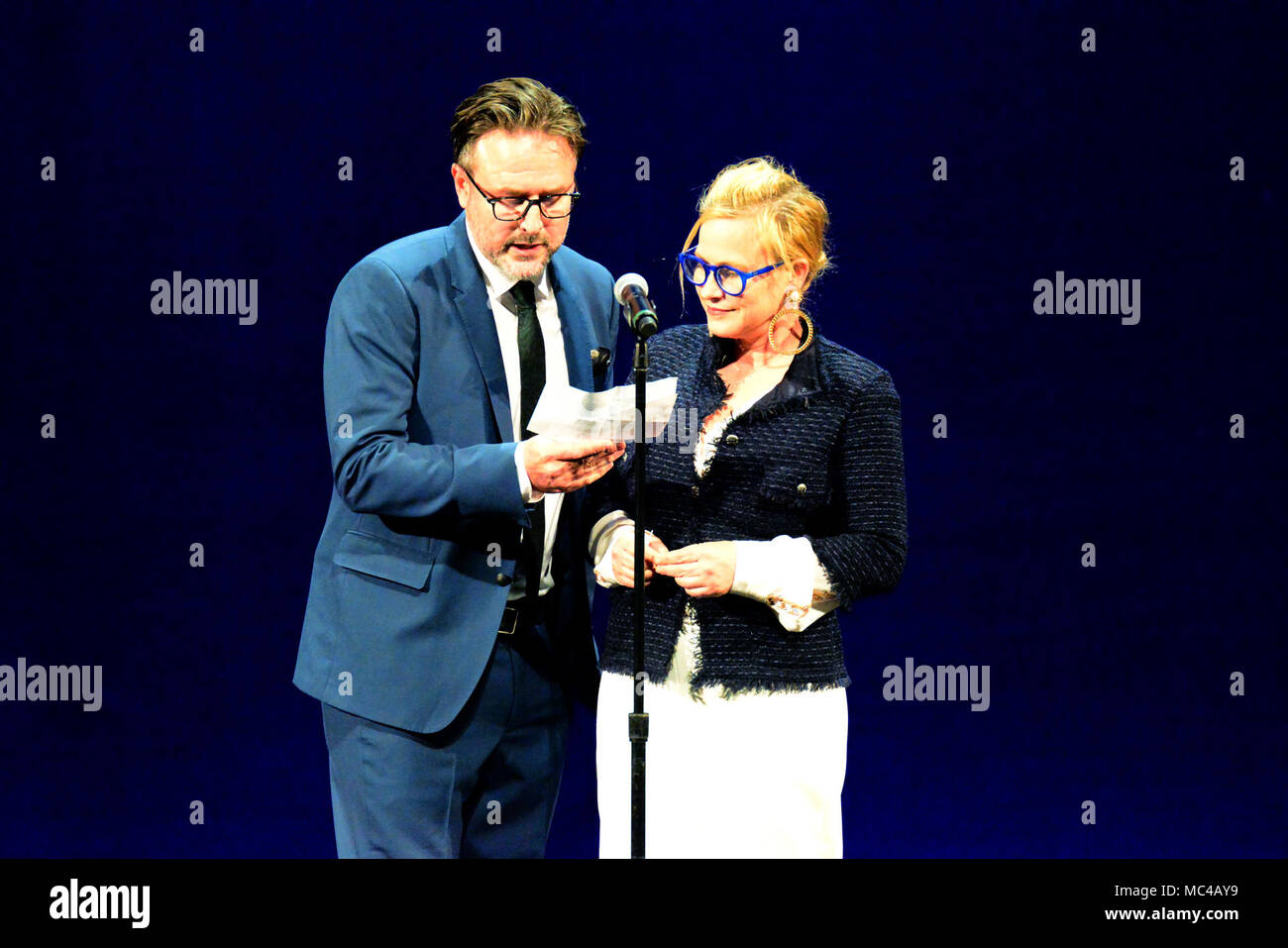 Los Angeles, CA, USA. 12th Apr, 2018. Actors - PATRICIA ARQUETTE and her brother DAVID ARQUETTE on stage at The We Are One Benefit Concert for The Arts, supporting music and art in Los Angeles Unified School District, The Dorothy Chandler Pavillion, Los Angeles, California, USA, April 12, 2018. The first Annual benefit concert for arts education for the LAUSD.Credit Image cr Scott Mitchell/ZUMA Press Credit: Scott Mitchell/ZUMA Wire/Alamy Live News - Stock Image