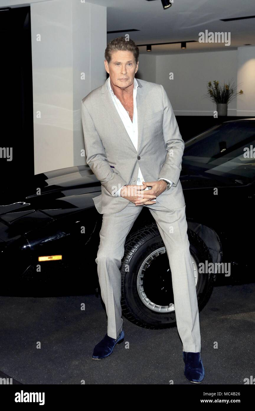 berlin germany 11th apr 2018 david hasselhoff with the car k i t t from the tv series. Black Bedroom Furniture Sets. Home Design Ideas
