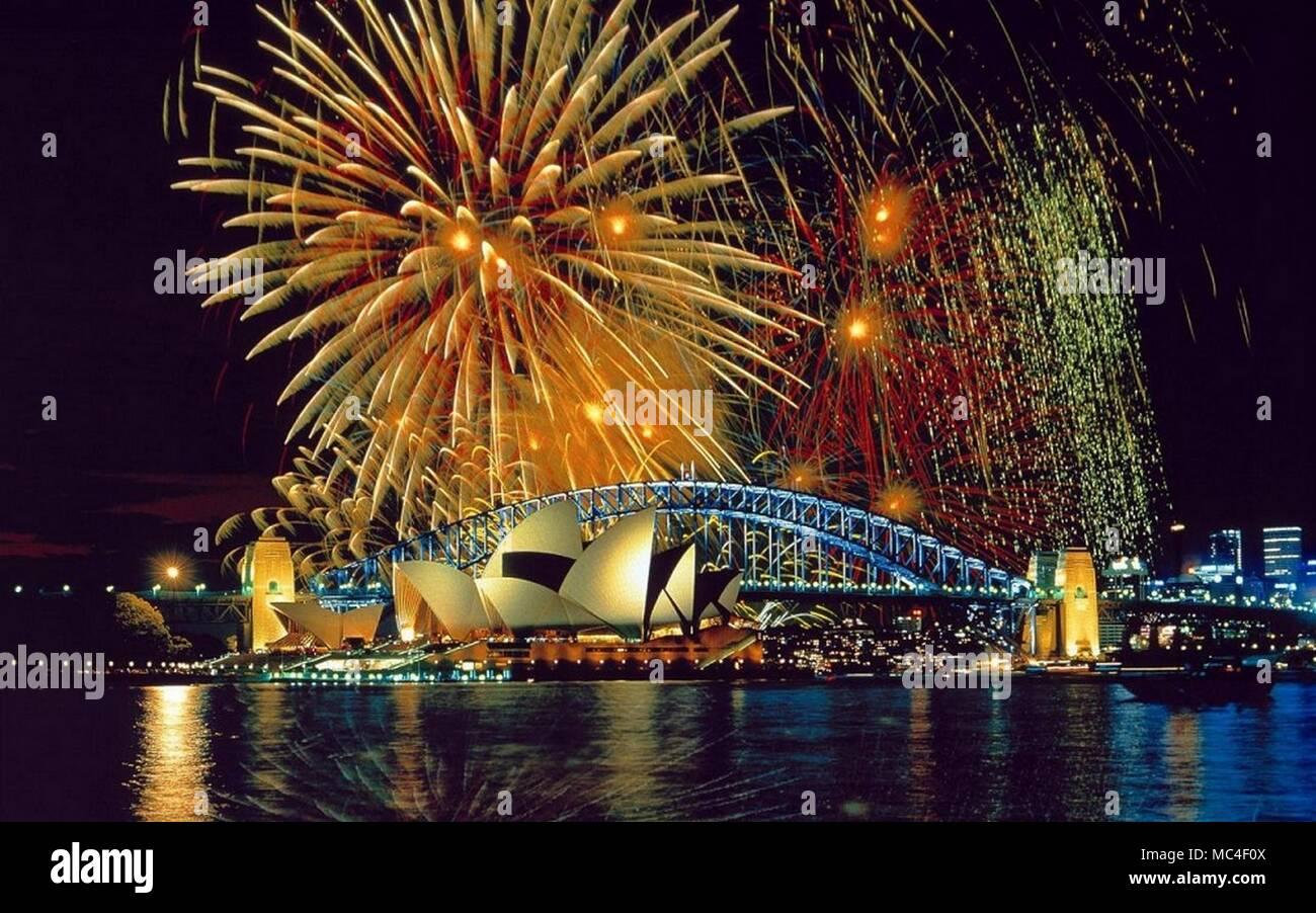 Bridges Amazing Fireworks Stock Photo