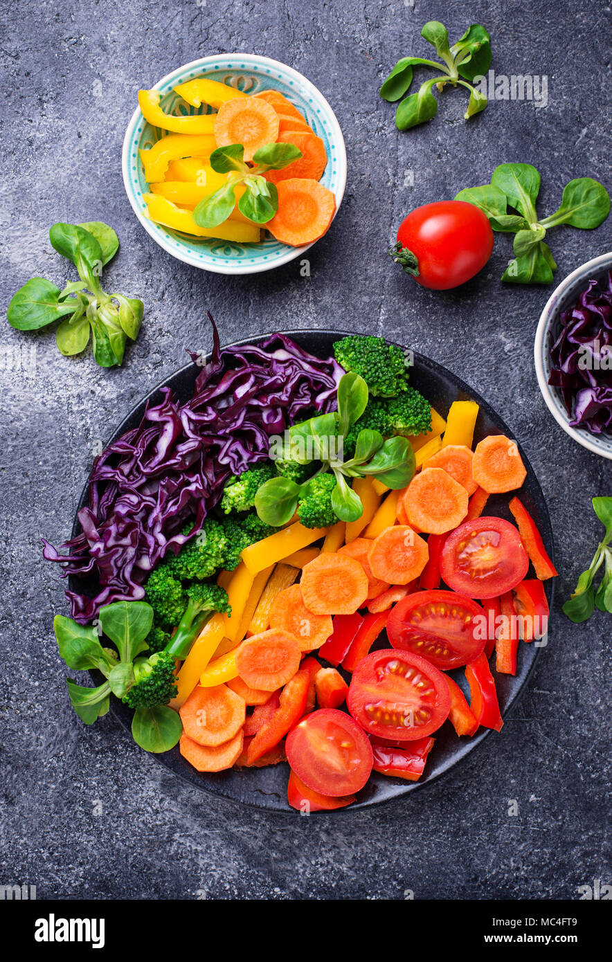Fresh healthy vegetarian rainbow salad - Stock Image