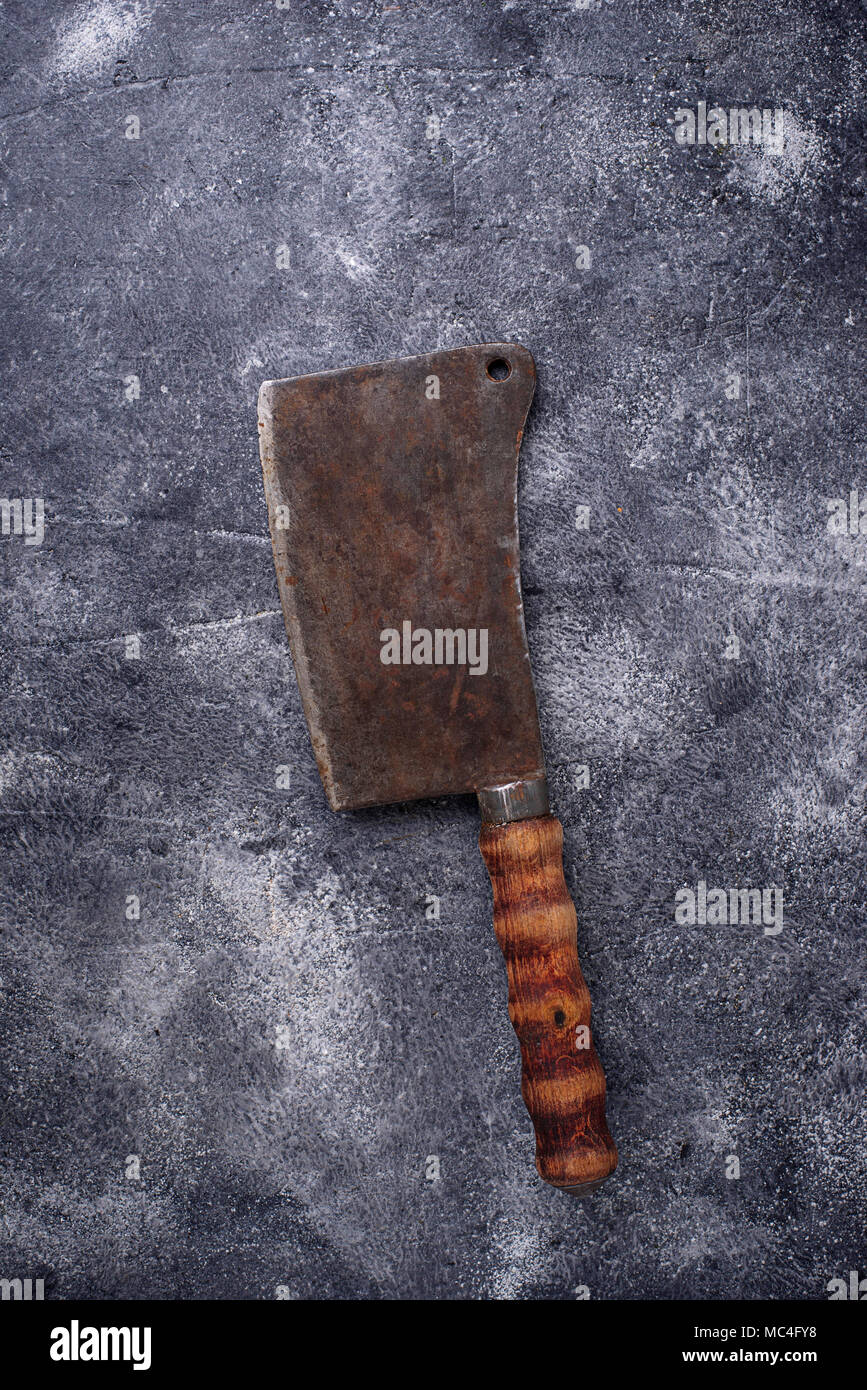 Butchers vintage cleaver for meat  - Stock Image