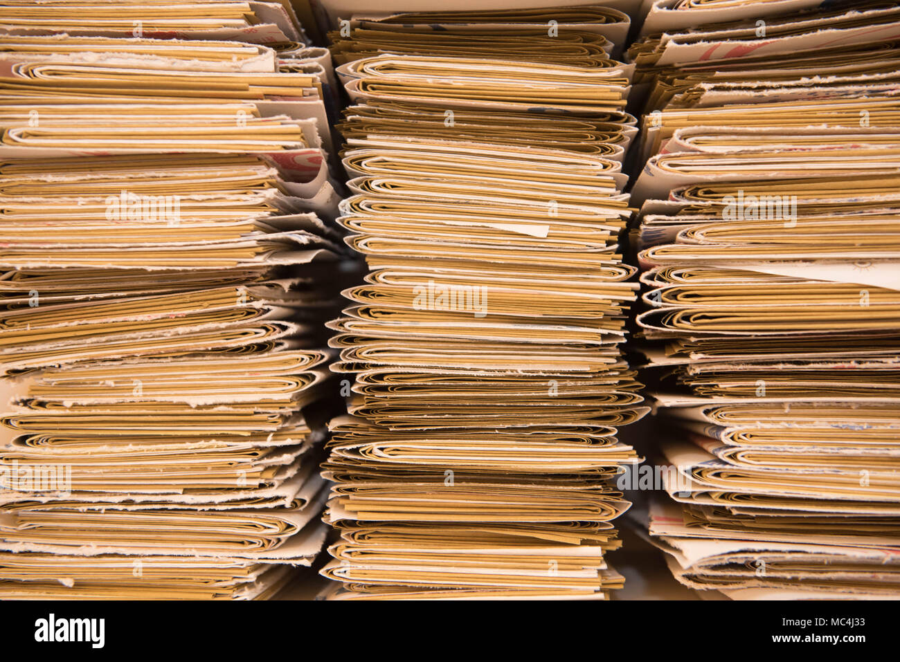 Carmela Dacchille handles an interesting project called Edizioni Precarie, Letter of Food Paper, recycles in various ways what's the paper used to wra Stock Photo
