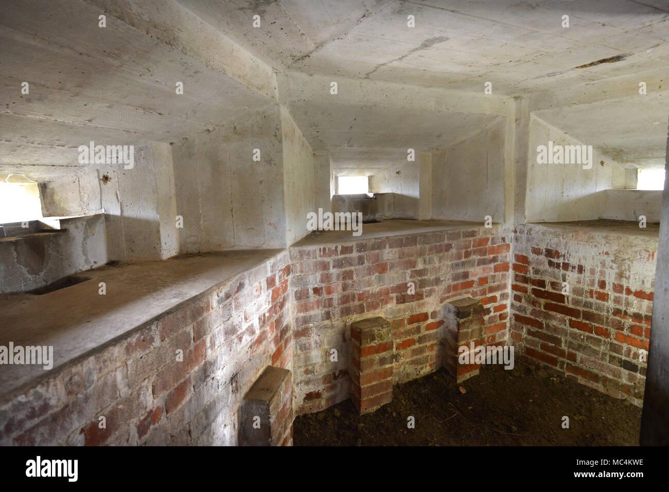 Interior of pillbox - WWII defensive gun emplacement - Stock Image