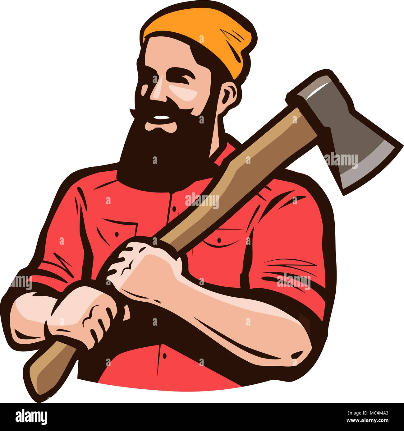 Lumberjack, axeman with axe in hands. Carpentry, woodworker, sawmill concept. Cartoon vector illustration - Stock Image