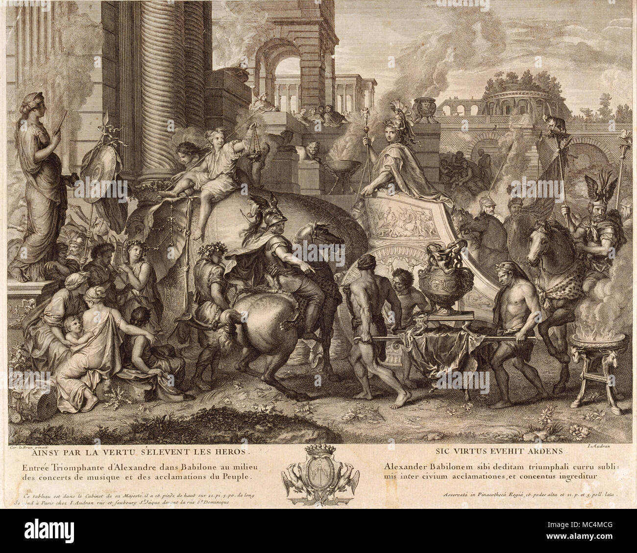 Jean Audran, Alexander the Great Enters Babylonia. Circa 1703-1708. Etching  and burin on paper. Museu Nacional d'Art de Catalunya, Barcelona, Spain.