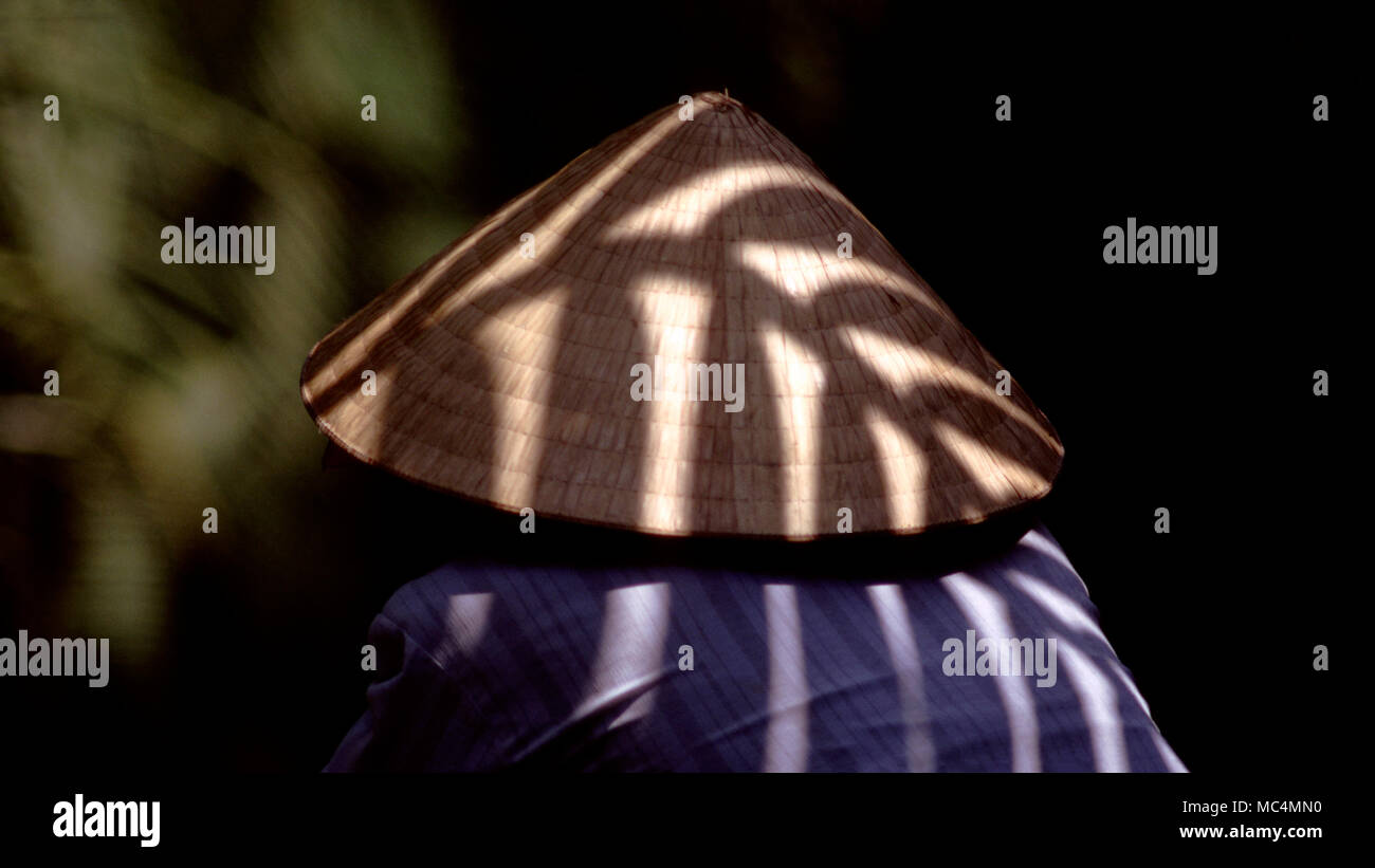 Sunlight casts the shadow of a tree on a Vietnamese woman's traditional rice hat. - Stock Image