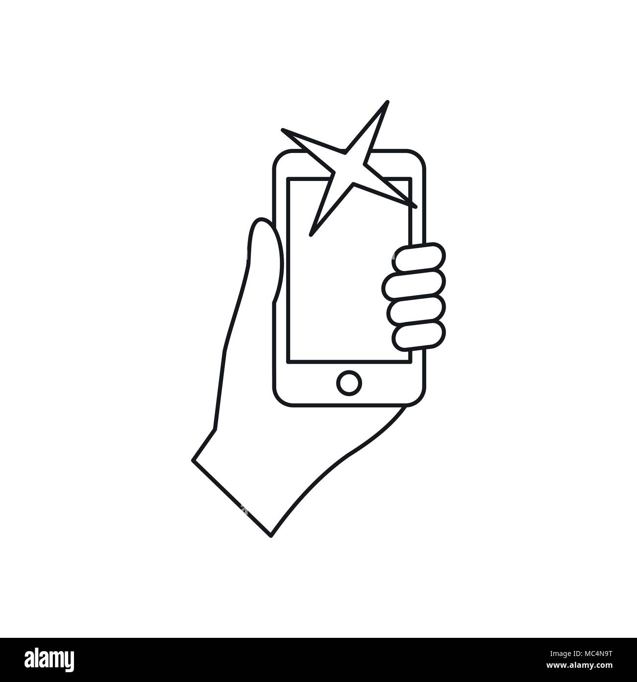 Hand photographed on mobile phone icon - Stock Vector