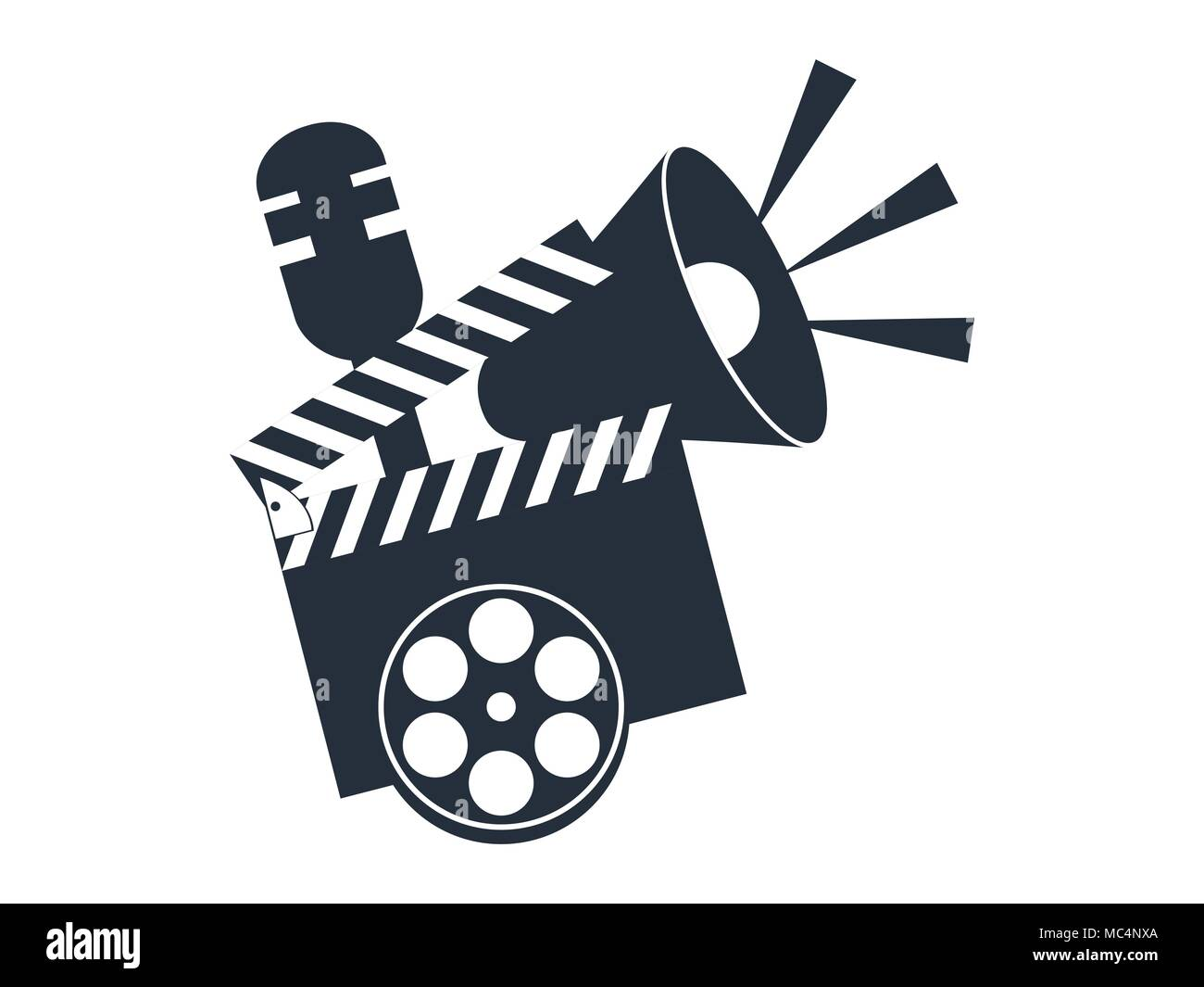 Cinematography tools. Clapperboard, movie clapper.  Vector illustration - Stock Image