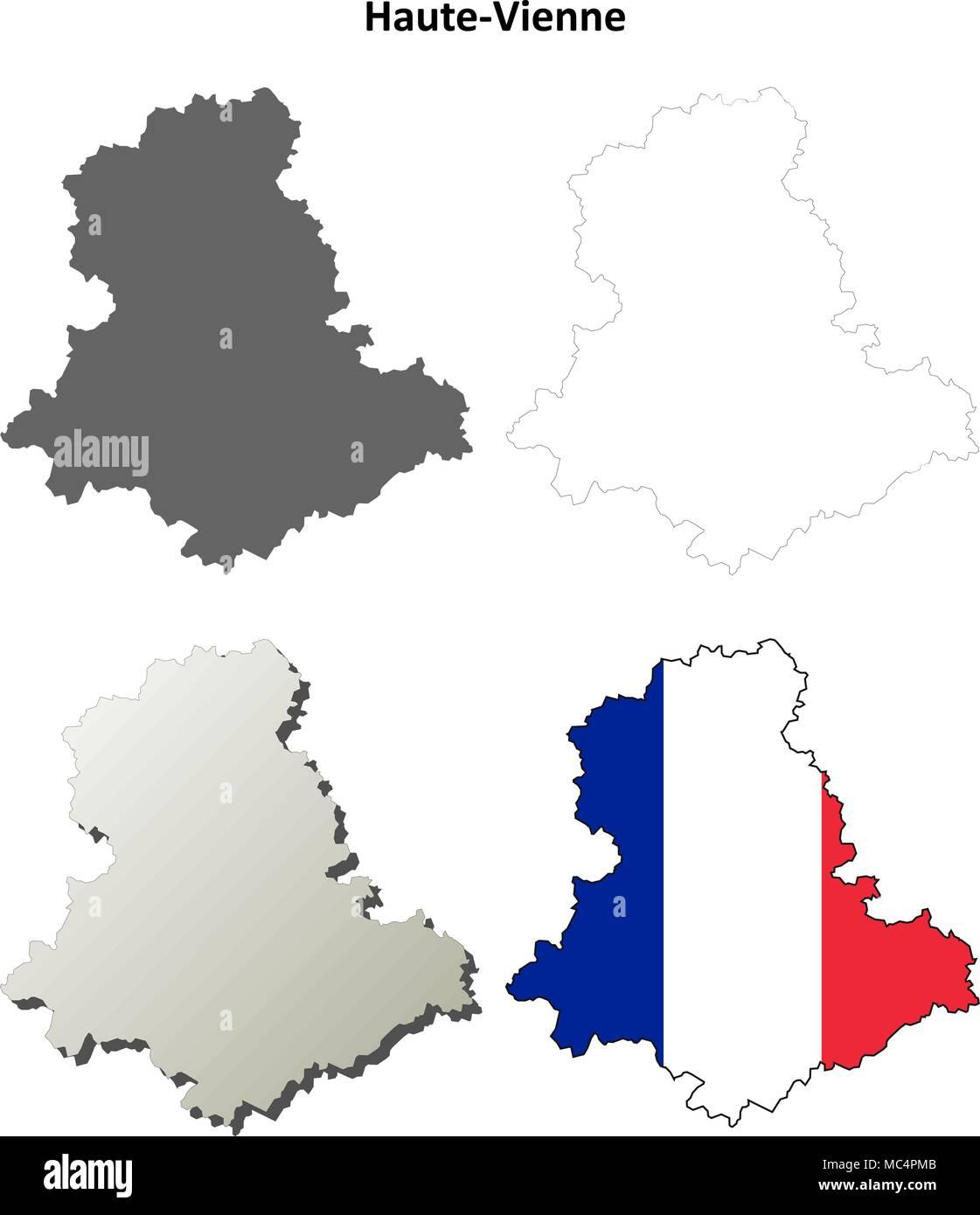 HauteVienne Limousin outline map set Stock Vector Art