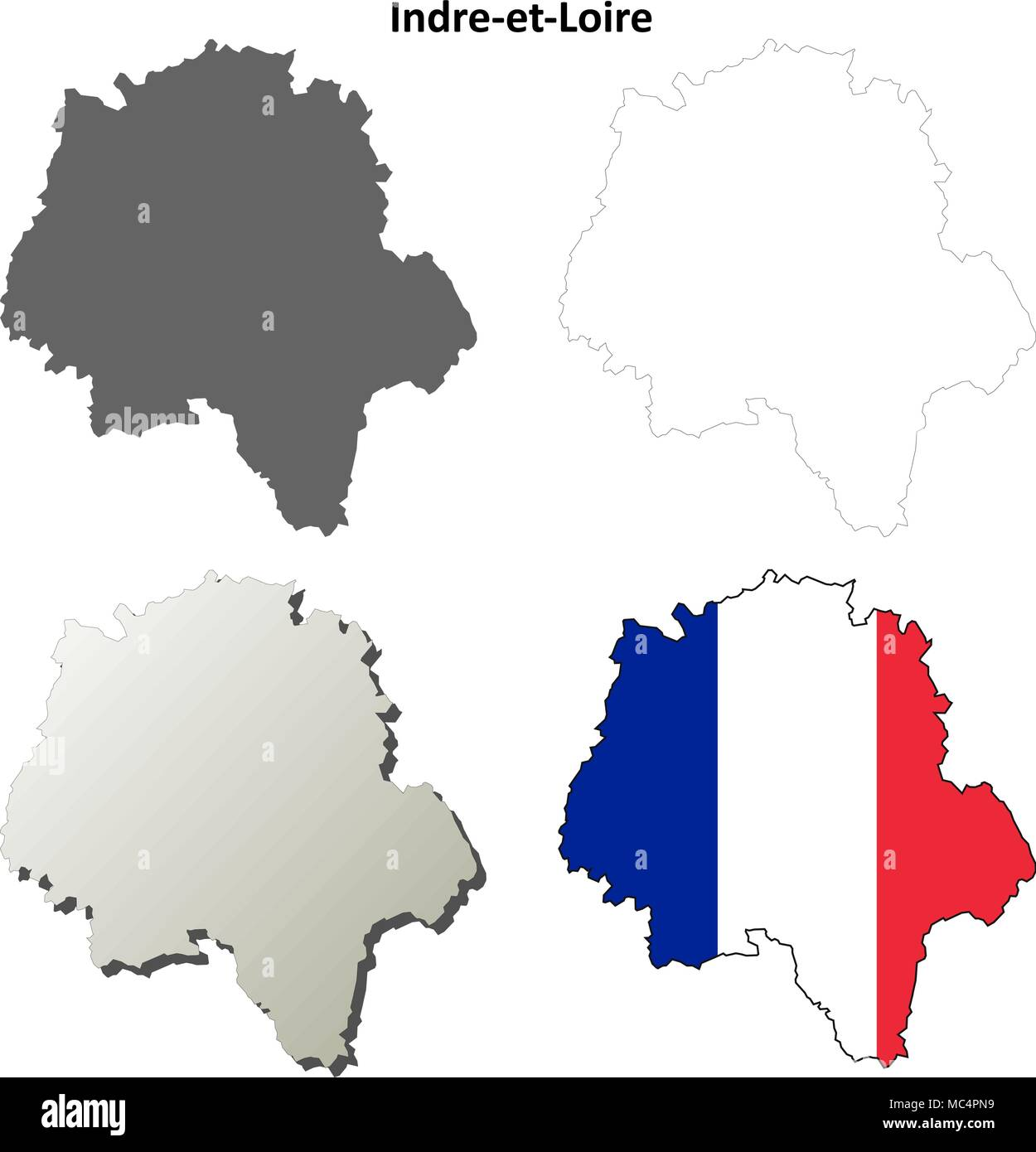 Indre-et-Loire, Centre outline map set - Stock Vector