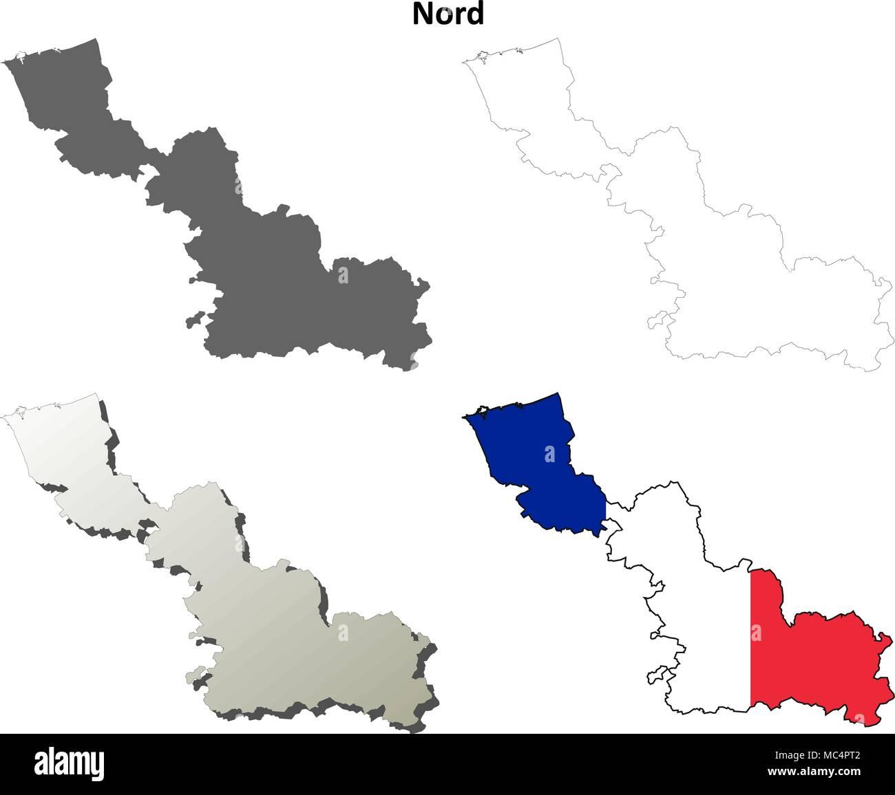 Nord, Nord-Pas-de-Calais outline map set - Stock Vector