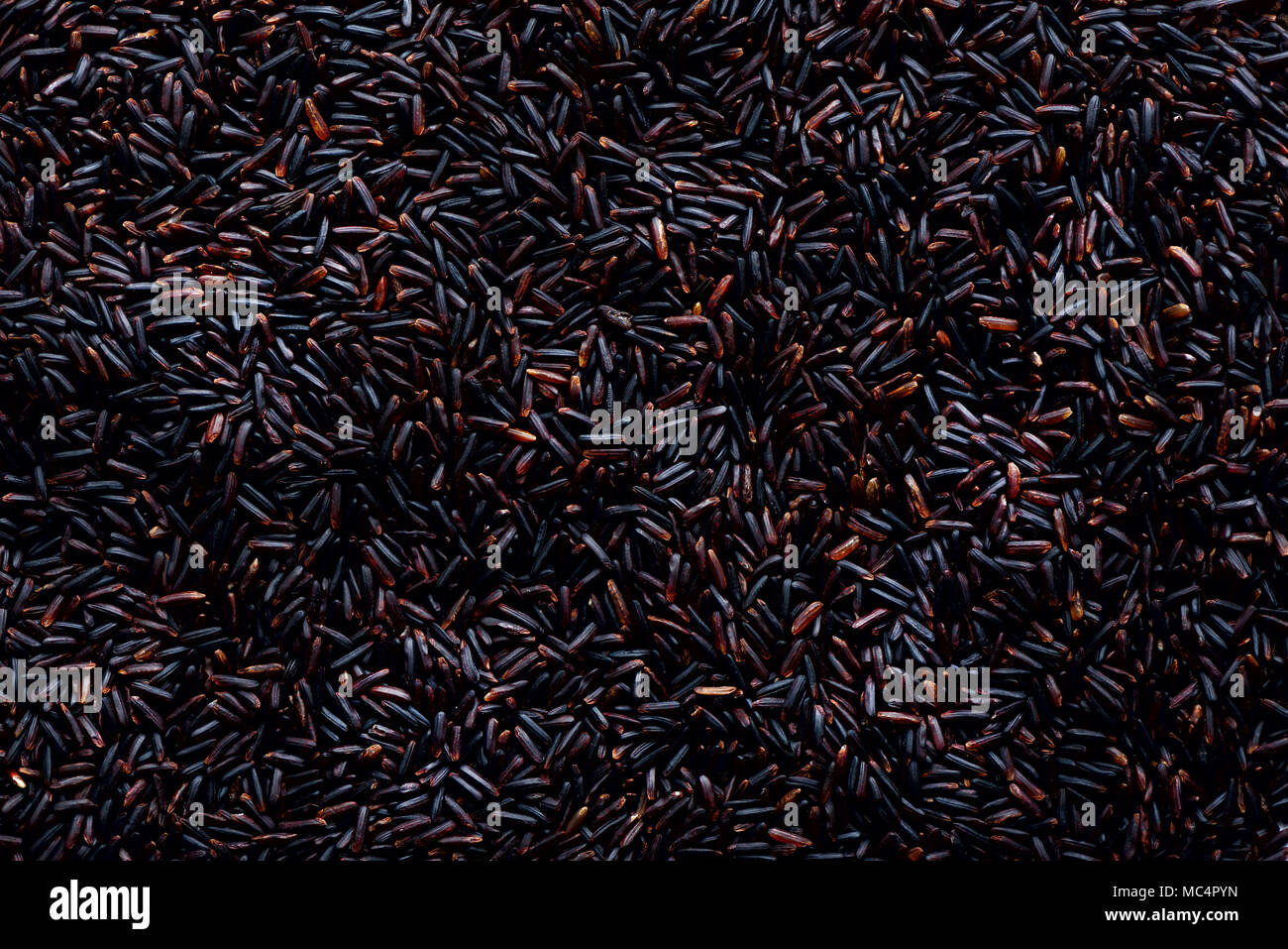 Raw dark red, balck purple rice, texture. Riceberry pattern background. Food ingredient background. Top view, healthy lifestyle concept. - Stock Image