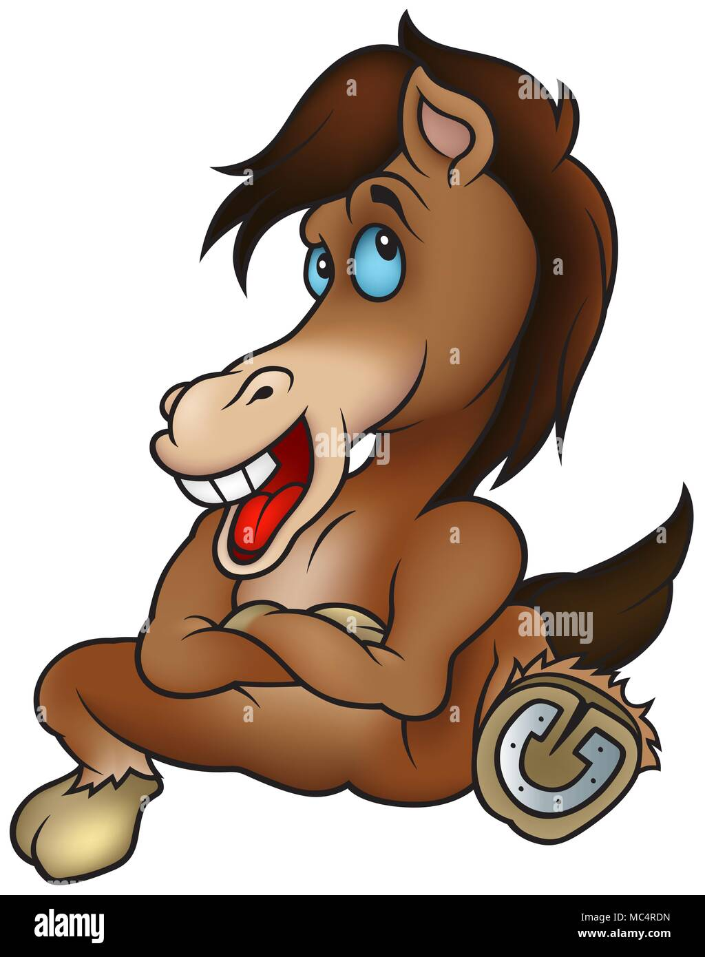 Sitting Brown Horse - Stock Image