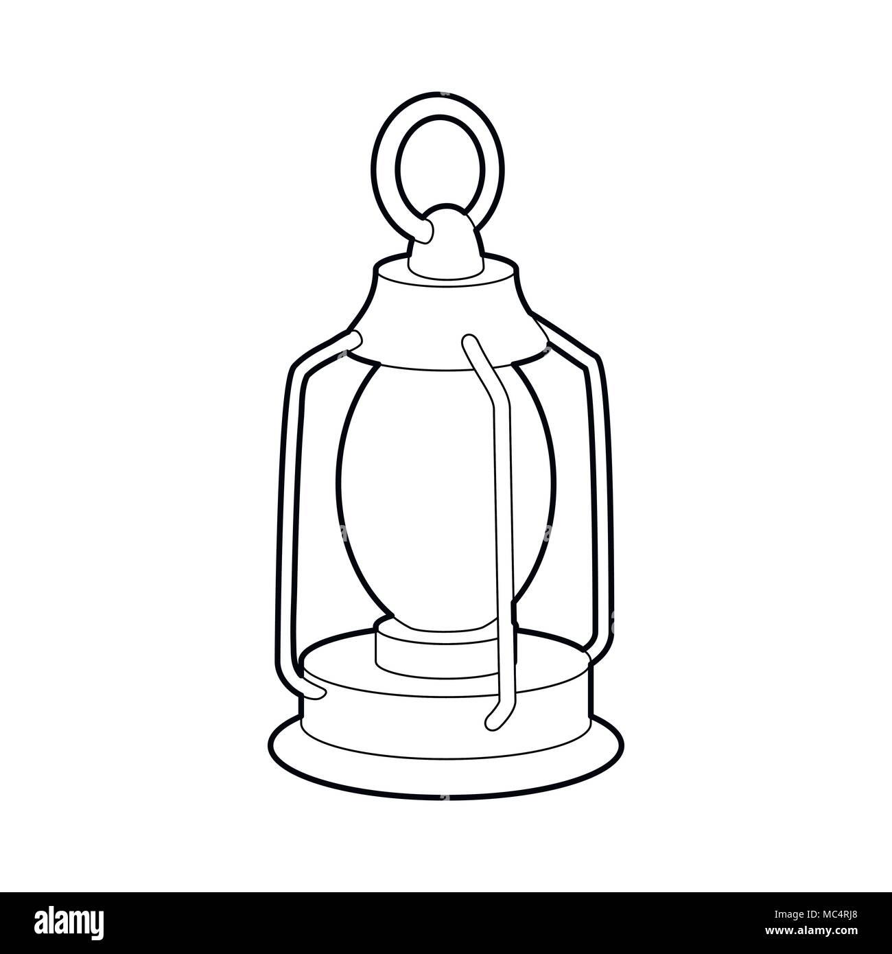 Kerosene lamp icon, outline style - Stock Image