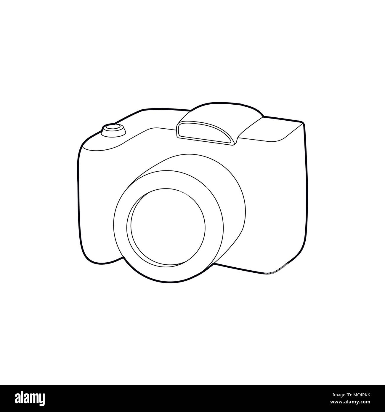 SLR camera icon, outline style - Stock Vector