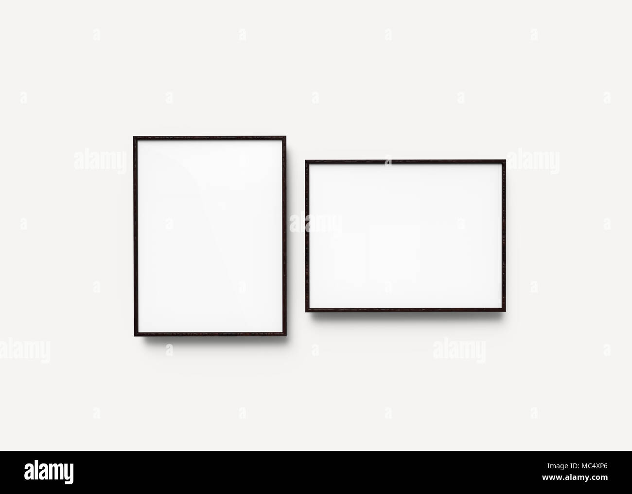 Superbe Black Picture Frames, 3d Render Thin Frames Set With Empty Space For  Decorative Uses