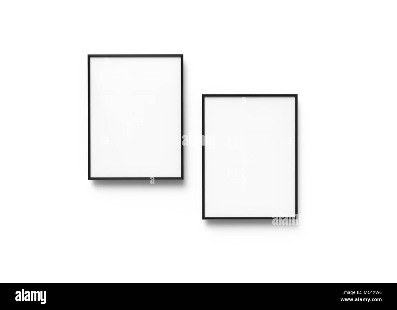 Black Picture Frames, 3d Render Thin Frames With Empty Space For Decorative  Uses