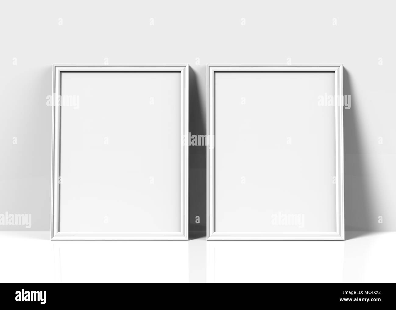 White Picture Frame, 3d Render Thin Frames Set With Empty Space For  Decorative Uses, Leaning On Wall