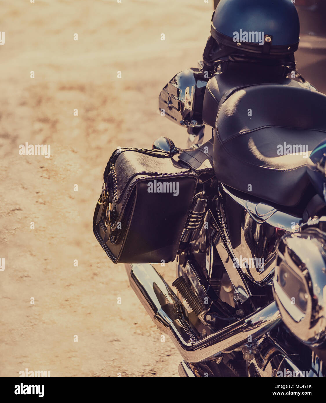 American Motorbike parked on the side of the road. Stock Image. - Stock Image