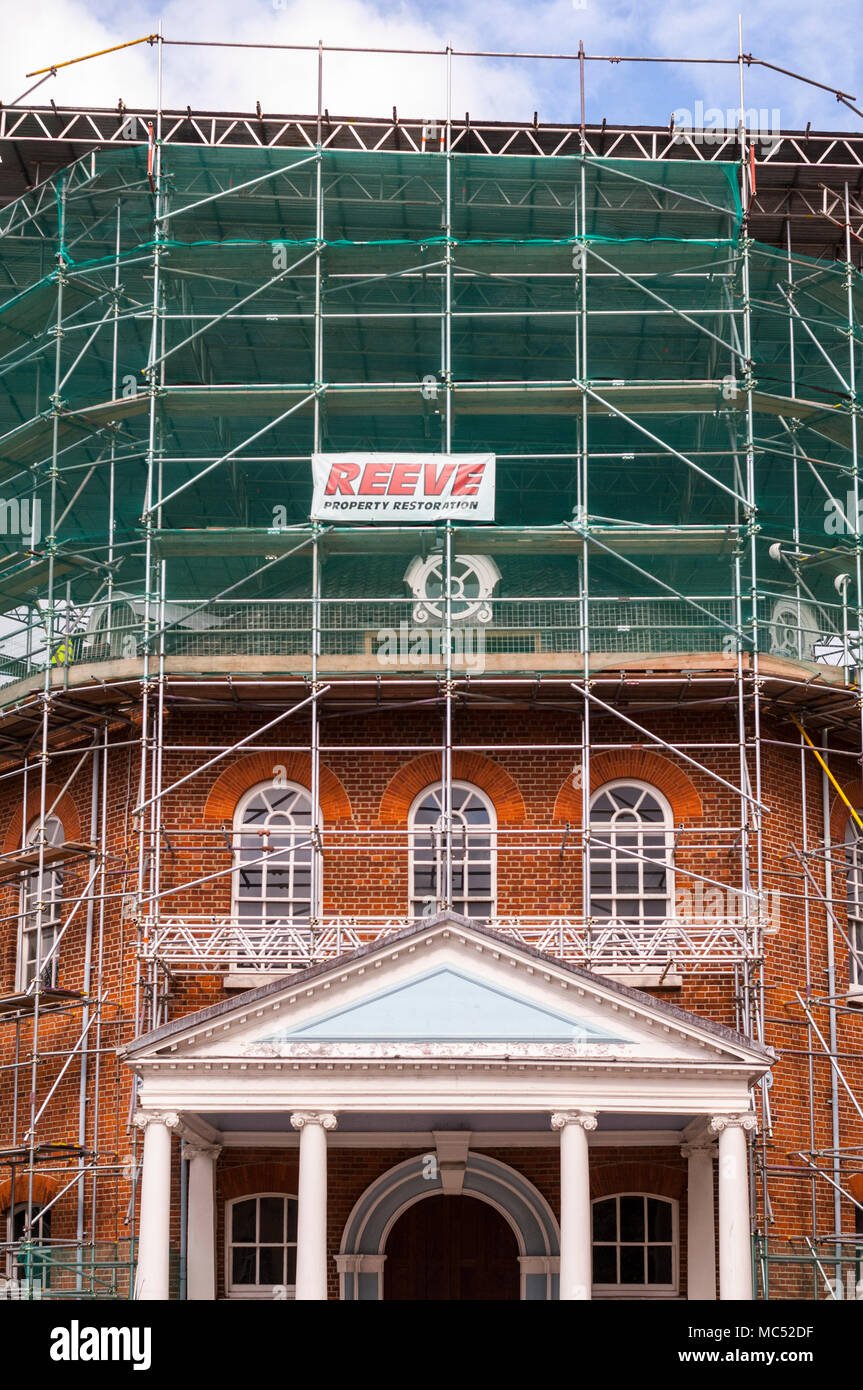 Scaffolding on a property in Norwich , Norfolk , England , Uk - Stock Image