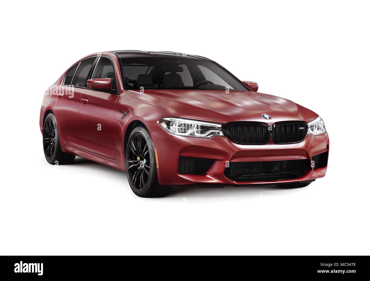 Sixth-generation BMW M5 with M xDrive, 2018 performance car, luxury sport sedan, 5-series in dark red, burgundy matte color. Isolated with a clipping  - Stock Image