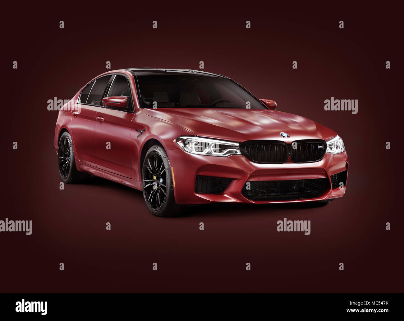 Sixth Generation Bmw M5 2018 Performance Car Luxury Sport Sedan 5 Series In Dark Red Matte Color Isolated With A Clipping Path On Burgundy Backgro Stock Photo Alamy